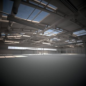large industrial hall 3D model
