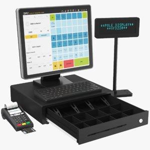 3D model real cash register