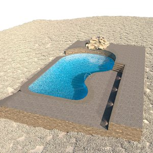 3D model large pool scene