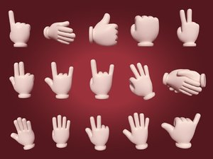 cartoon hands pack 3D model
