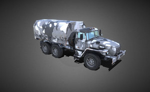heavy army truck winter 3D model