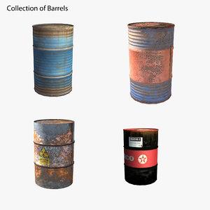barrels blue orange 3D model