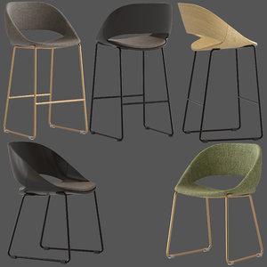 3D arrmet kabira chair stool model