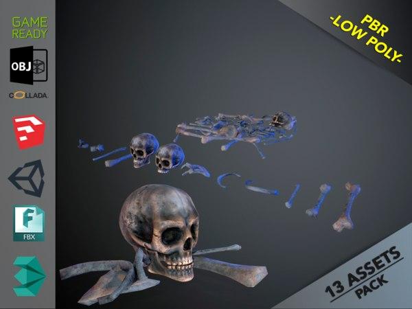 skulls1 alien bones 3D model