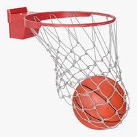 3D basketball ball falls net model