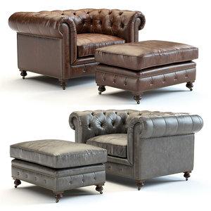 3D kensington leather chair model