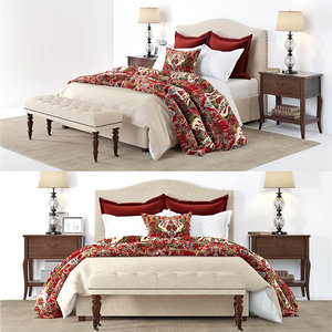 3D pottery barn raleigh bed model