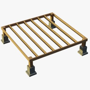 3D wood building foundation 1 model