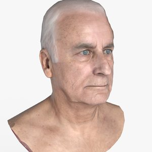 3D older male head model