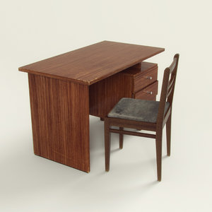 3D old chair table model