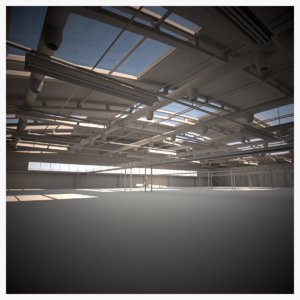 3D model industrial warehouse scene