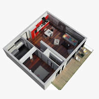 1 Bed Apartment Cross Section