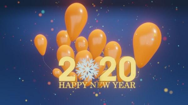 3D happy new year 2020