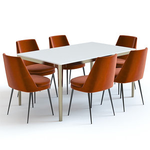 3D set west elm table chairs