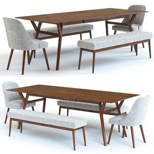 set west elm table chairs 3D model