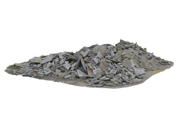 demolished building debris 3D model
