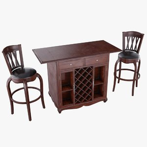 3D bar table chairs