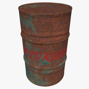 3D model barrel rusty