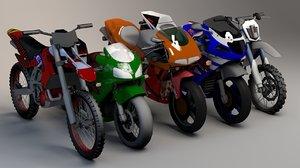 3D pack 5 sports bikes model