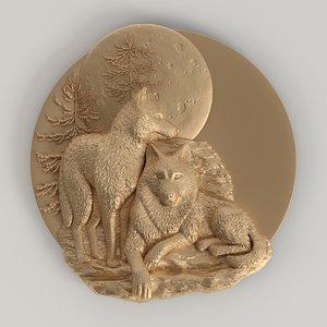 bas-relief wolves 3D model
