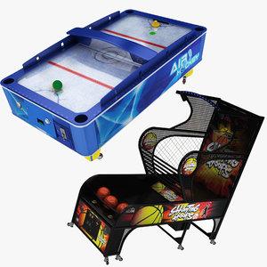 arcade air hockey basketball 3D model