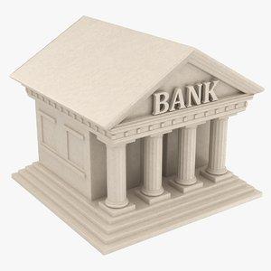 3D bank building symbol