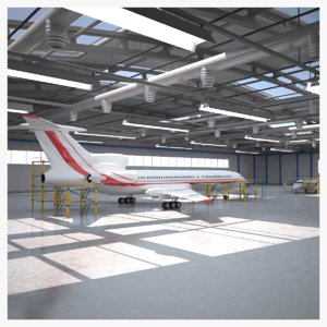 3D model aircraft service hangar
