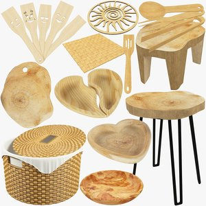 3D kitchen utensils furniture wooden model