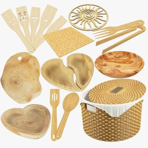 kitchen utensils wooden v1 3D model
