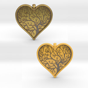 tree life pendant heart 3D model