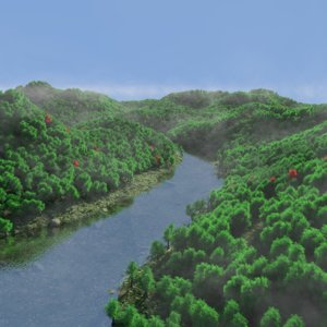 mountains lake 3D model