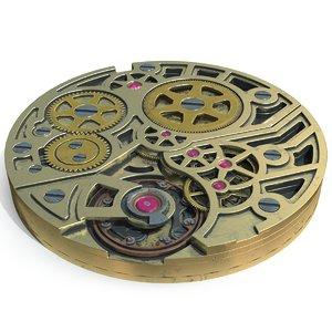 3D model watch mechanism pbr