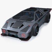 Futuristic Cyber Car Concept PBR