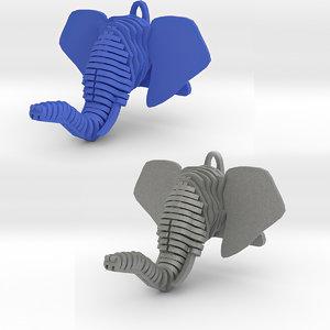 3D elephant head pendant model