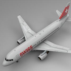 3D swissair airbus a320 l511