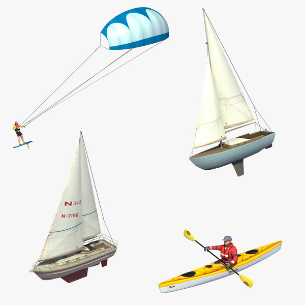 3D recreational watercraft kayak sailboat model