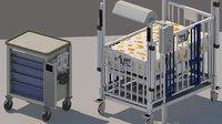 3D model critical care crib pediatric