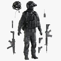 Military Black Uniform With Equipment