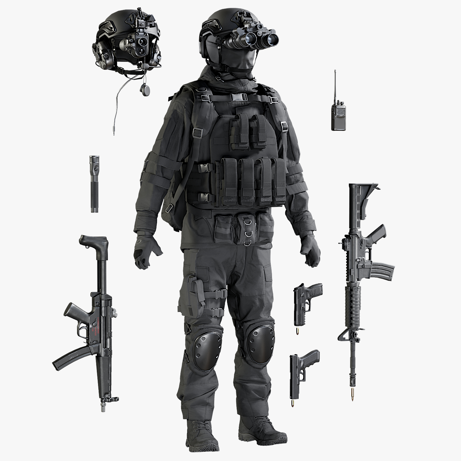 military uniform equipment model