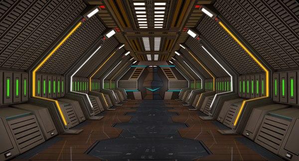 sci fi corridor 3D
