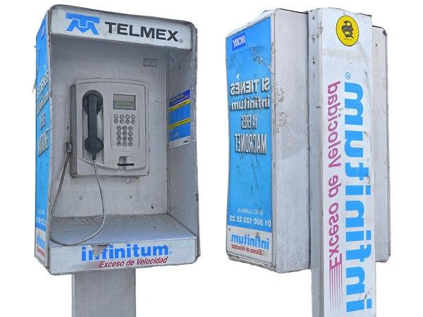 3D telephone box mexico model