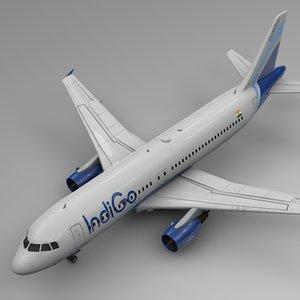 3D indigo airbus a320 l514 model