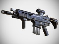 FN SCAR - H - QCB - With Attachments - Highly Detailed - PBR