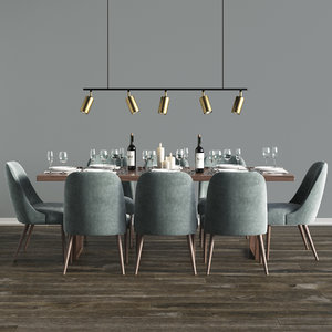 3D model dinning set table chair
