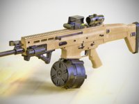 FN SCAR - H - LMG - With Attachments - Highly Detailed - PBR