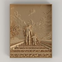 bas-relief father son 3D model