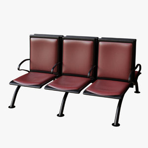 3D model waiting bench set