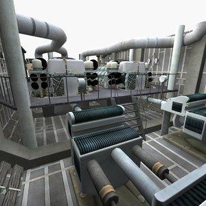 3D interior water pump pipeline model