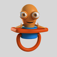 3D rigged pacifier cartoon character