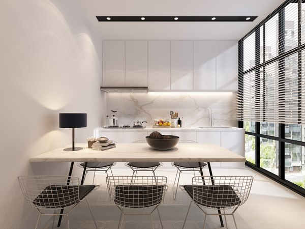 3D dining kitchen view